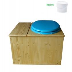 Toilette sèche huilée avec bac à copeaux de bois - La Bac bleu turquoise