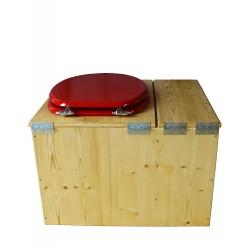 Toilette sèche huilée avec bac à copeaux de bois - La Bac rouge framboise