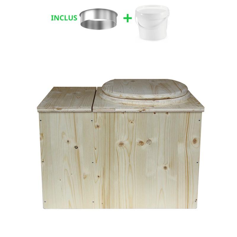 Toilette sèche avec bac à copeaux de bois complet avec bavette inox et seau 20 litres