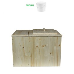 Toilette sèche pas cher avec bac à copeaux de bois + seau plastique 20 litres