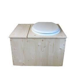 Toilette sèche avec bac à copeaux de bois, seau inox - La Bac Blanche inox