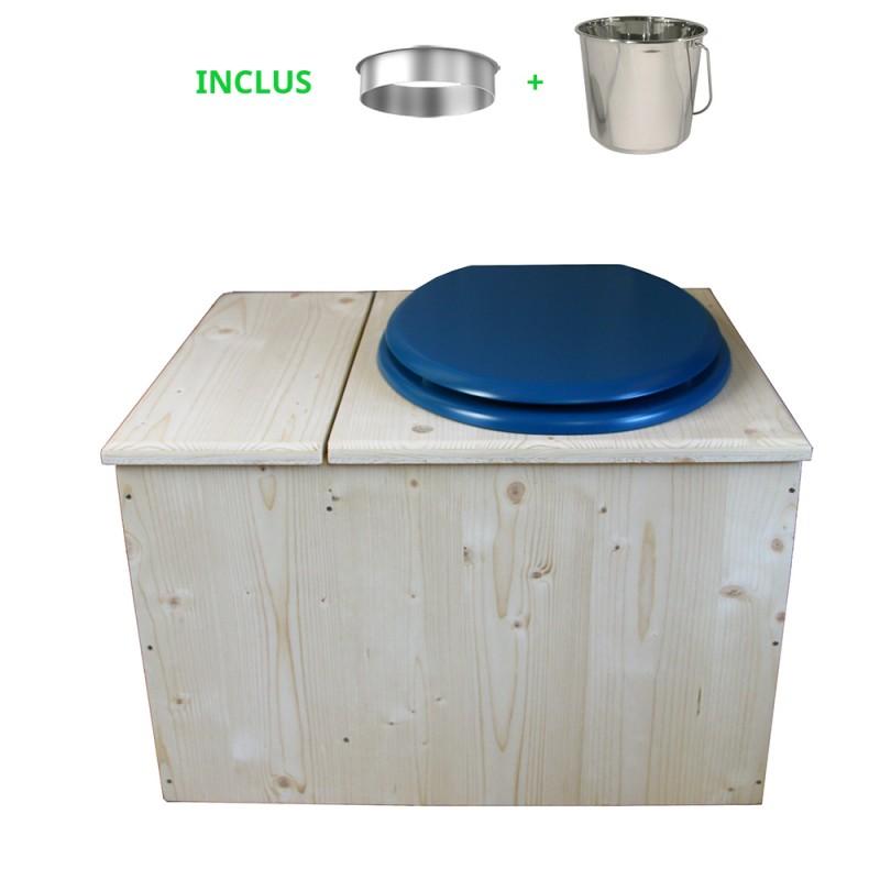 Toilette sèche avec bac à copeaux de bois, seau inox - La Bac Bleu nuit inox