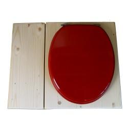 Toilette sèche avec bac à copeaux de bois, seau inox - La Bac rouge framboise inox