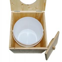 Toilette sèche pas chère en bois avec seau plastique alimentaire 20 litres