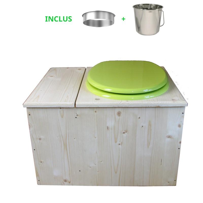 Toilette sèche avec bac à copeaux de bois, seau inox - La Bac vert pomme inox