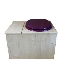 Toilette sèche avec bac à copeaux de bois, seau inox - La Bac violet prune inox