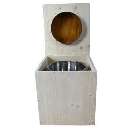 toilette sèche en bois avec seau inox et bavette inox avec abattant bambou - modèle rehaussé PMR