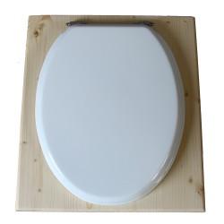 toilette sèche en bois avec seau inox et bavette inox avec abattant bois blanc - modèle rehaussé PMR