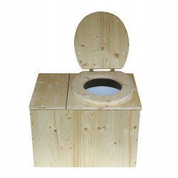 Toilette sèche avec bac à copeaux de bois, bavette inox et seau plastique