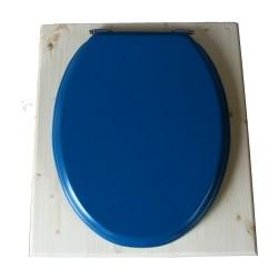toilette sèche en bois avec seau inox et bavette inox avec abattant bois bleu nuit - modèle rehaussé PMR