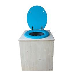 toilette sèche en bois avec seau inox et bavette inox avec abattant bois bleu turquoise - modèle rehaussé PMR