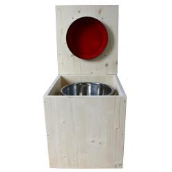 toilette sèche en bois avec seau inox et bavette inox avec abattant bois rouge framboise - modèle rehaussé PMR