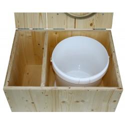 Toilettes sèches avec bac à copeaux de bois, seau plastique 20 litres et bavette inox