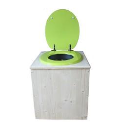 toilette sèche en bois avec seau inox et bavette inox avec abattant bois vert pomme - modèle rehaussé PMR