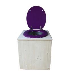 toilette sèche en bois avec seau inox et bavette inox avec abattant bois violet prune - modèle rehaussé PMR