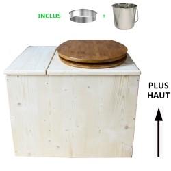 Toilette sèche avec bac à copeaux de bois - La Bac Bambou inox - modèle rehaussé PMR - hauteur d'assise 50 cm