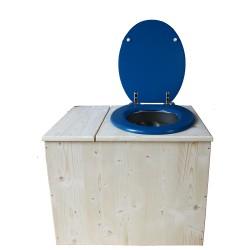 Toilette sèche avec bac à copeaux de bois - La Bac Bleu nuit inox - modèle rehaussé PMR - hauteur d'assise 50 cm