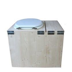 Toilette sèche avec bac à copeaux de bois - La Bac Blanche inox - modèle rehaussé PMR - hauteur d'assise 50 cm