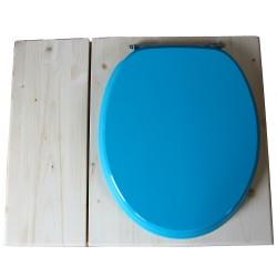 Toilette sèche avec bac à copeaux de bois - La Bac Bleu turquoise inox - modèle rehaussé PMR - hauteur d'assise 50 cm