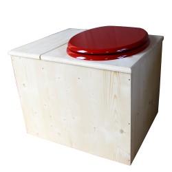 Toilette sèche avec bac à copeaux de bois - La Bac Rouge Framboise inox - modèle rehaussé PMR - hauteur d'assise 50 cm