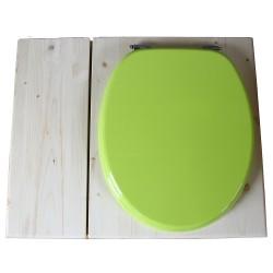 Toilette sèche avec bac à copeaux de bois - La Bac vert pomme inox - modèle rehaussé PMR - hauteur d'assise 50 cm
