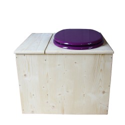 Toilette sèche avec bac à copeaux de bois - La Bac violet prune inox - modèle rehaussé PMR - hauteur d'assise 50 cm