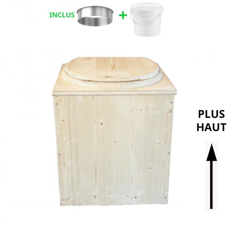 toilette sèche en bois rehaussée - la cube complète avec seau plastique 20 L + bavette inox