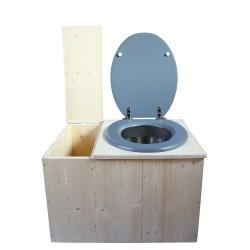 Toilette sèche avec bac à copeaux de bois, seau inox - La Bac gris clair inox
