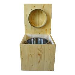toilette sèche en bois huilée complète avec seau inox 14 litres et bavette inox Ø30 cm