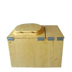 Toilette sèche huilée avec bac à copeaux de bois complète avec bavette inox Ø30cm et seau inox 14 litres