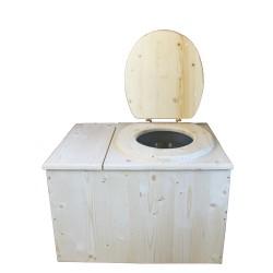 Toilette sèche avec bac à copeaux de bois complet avec bavette inox et seau inox 14 litres