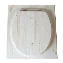 toilette sèche en bois complète avec seau inox et bavette inox - modèle rehaussé PMR