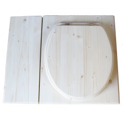 Toilette sèche avec bac à copeaux de bois vendue complète avec bavette inox et seau inox 14 litres - modèle PMR