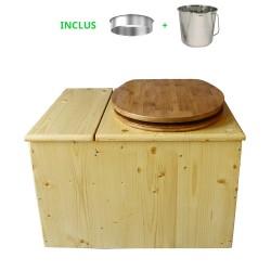 Toilette sèche huilée avec bac à copeaux de bois complète avec bavette inox Ø30cm et seau inox 14 litres - la bac bambou