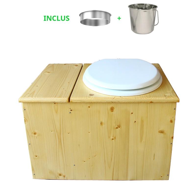 Toilette sèche huilée avec bac à copeaux de bois complète avec bavette inox Ø30cm et seau inox 14 litres - la bac blanche