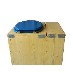 Toilette sèche huilée avec bac à copeaux de bois complète avec bavette inox Ø30cm et seau inox 14 litres - la bac bleu nuit