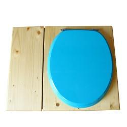Toilette sèche huilée avec bac à copeaux de bois complète avec bavette inox Ø30cm et seau inox 14 litres - la bac bleu turquoise
