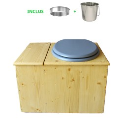 Toilette sèche huilée avec bac à copeaux de bois complète avec bavette inox Ø30cm et seau inox 14 litres - la bac gris clair