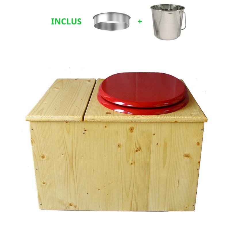 Toilette sèche huilée avec bac à copeaux de bois, bavette inox Ø30cm et seau inox 14 litres - la bac rouge framboise