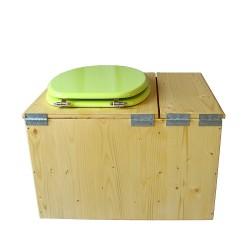 Toilette sèche huilée avec bac à copeaux de bois, bavette inox Ø30cm et seau inox 14 litres - la bac vert pomme