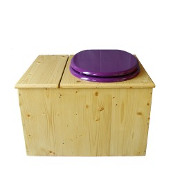 Toilette sèche huilée avec bac à copeaux de bois, bavette inox Ø30cm et seau inox 14 litres - la bac violet prune