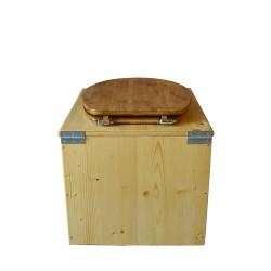 toilette sèche bois huilé complète avec seau inox 14 litres et bavette inox Ø30 cm - abattant bambou