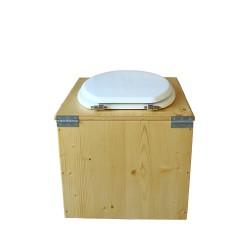 toilette sèche bois huilé avec seau inox 14 litres et bavette inox Ø30 cm - abattant blanc