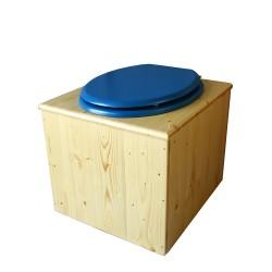 toilette sèche bois huilé avec seau inox 14 litres et bavette inox Ø30 cm - abattant bleu nuit