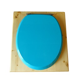 toilette sèche bois huilé avec seau inox 14 litres et bavette inox Ø30 cm - abattant bleu turquoise