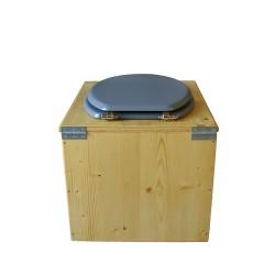 toilette sèche bois huilé avec seau inox 14 litres et bavette inox Ø30 cm - abattant gris clair