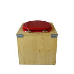 toilette sèche bois huilé avec seau inox 14 litres et bavette inox Ø30 cm - abattant rouge framboise