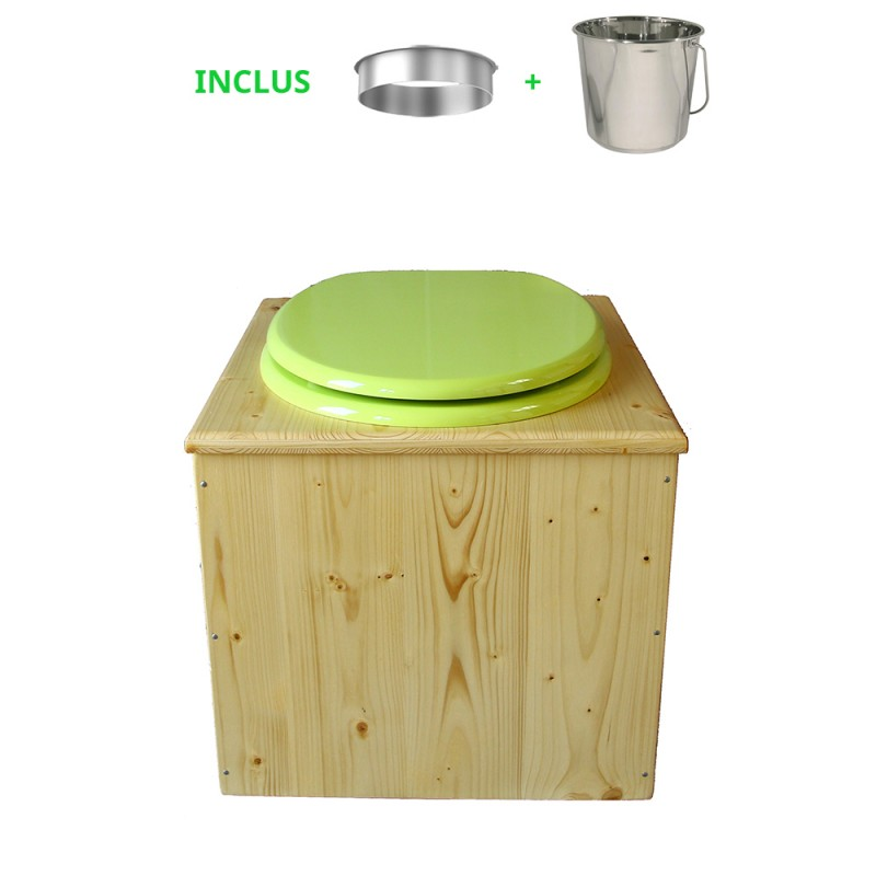 toilette sèche bois huilé avec seau inox 14 litres et bavette inox Ø30 cm - abattant vert pomme