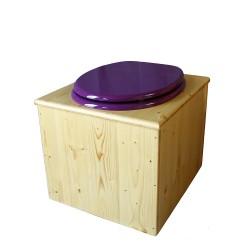 toilette sèche bois huilé avec seau inox 14 litres et bavette inox Ø30 cm - abattant violet prune