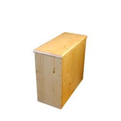 Bac à copeaux de bois huilé avec couvercle pour toilette sèche